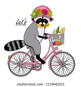 Vector raccoon with a pink bike. Hand drawn illustration of dressed coon  with  pink hat, wreath and yellow scarf.