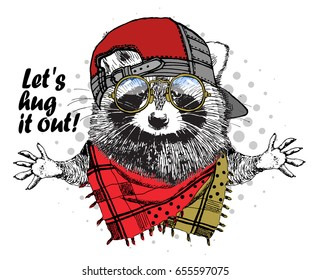 Vector raccoon with red cap, glasses and scarf. Hand drawn illustration of dressed racoon