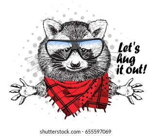 Vector raccoon with red scarf and glasses. Hand drawn illustration of dressed racoon