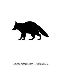 Vector raccoon silhouette view side for retro logos, emblems, badges, labels template vintage design element. Isolated on white background