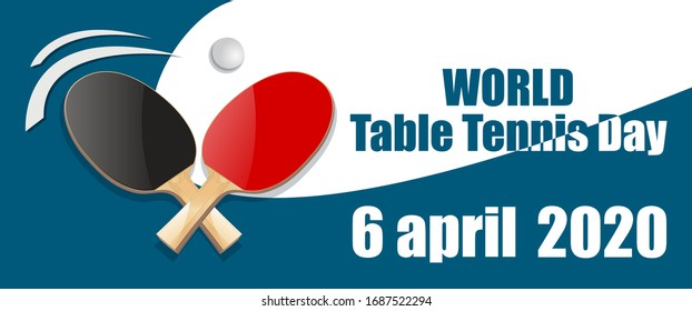 vector racket red and black ping pong ball on a white and blue background world table tennis day 6 april