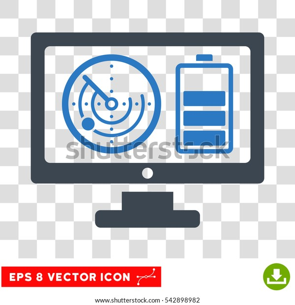 Vector Radar Battery Control Monitor EPS vector icon. Illustration style is flat iconic bicolor smooth blue symbol on a transparent background.