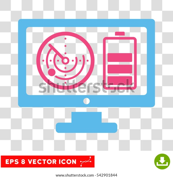 Vector Radar Battery Control Monitor EPS vector pictogram. Illustration style is flat iconic bicolor pink and blue symbol on a transparent background.