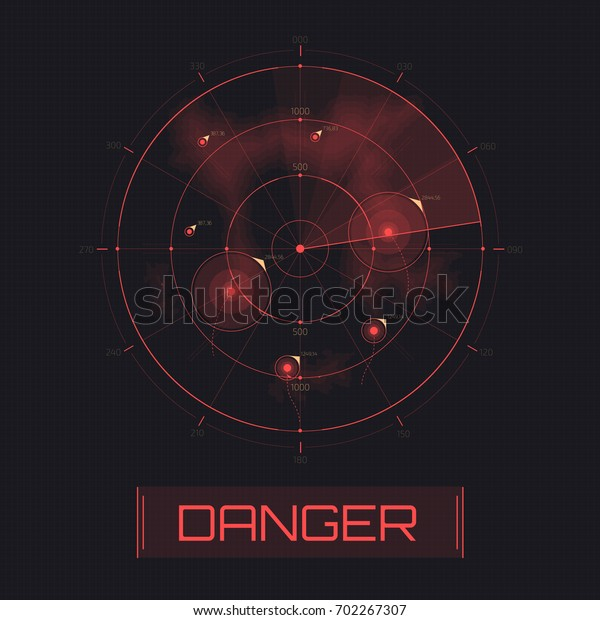Vector Radar screen. Text with warning message danger. Attack warning. Futuristic HUD radar display. Sci-fi design element isolated on background. Military air scan. Submarine navy search.