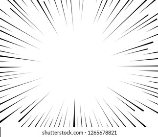 Vector radial lines. Concept of speed, movement, black color. Design elements manga, cartoon, comics. Illustration on isolated background.