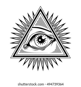 Vector radiant delta - a sign depicting Masonic eye in the triangle with rays