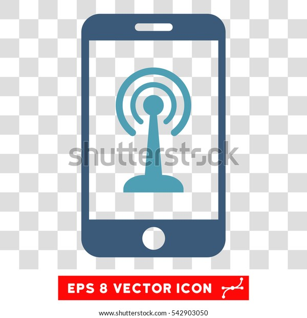 Vector Radio Control Smartphone EPS vector icon. Illustration style is flat iconic bicolor cyan and blue symbol on a transparent background.
