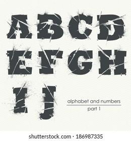 Vector ragged grunge alphabet with ink splatter - part 1