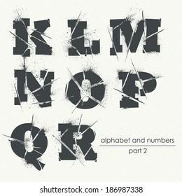 Vector ragged grunge alphabet with ink splatter - part 2