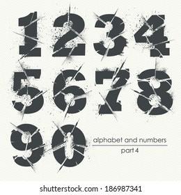 Vector ragged grunge alphabet with ink splatter - part 4