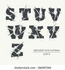 Vector ragged grunge alphabet with ink splatter - part 3
