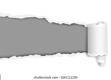 Vector ragged long hole in sheet of white paper with wrapped paper tear. Template design.