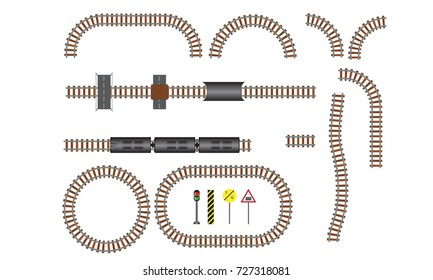 Vector railroad and railway tracks construction elements. Wavy trackway structure for traffic train. Vector Illustration.