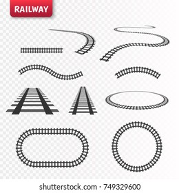 Vector rails set. Railway isolated on transparent background.