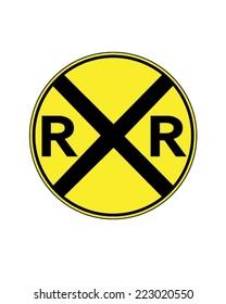 Vector railway crossing traffic sign