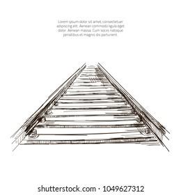 Vector railway pencil sketch. Train railway drawing