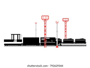 Vector railway station with trains pillars and spotlights