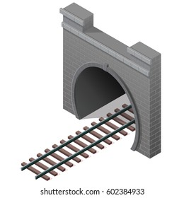 Vector railway tunnel in isometric 3d perspective. Old stone circular tunnel. Isolated on white background. Created in diminishing perspective.