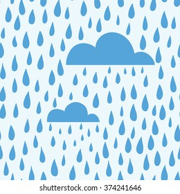 Vector rain background hand drawn, seamless pattern. Blue clouds and raindrops