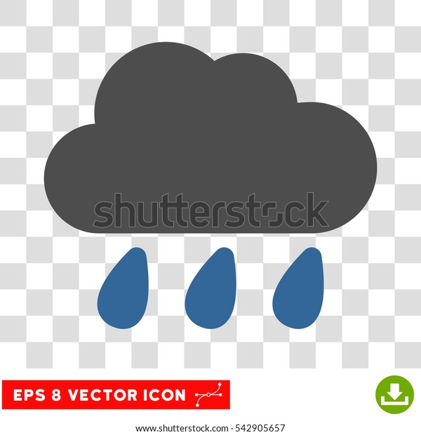Vector Rain Cloud EPS vector pictogram. Illustration style is flat iconic bicolor cobalt and gray symbol on a transparent background.