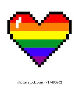 Vector rainbow 8 bit pixel art style heart. LGBT community symbol. Gay pride concept