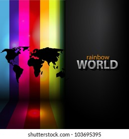 Vector rainbow background with black map silhouette