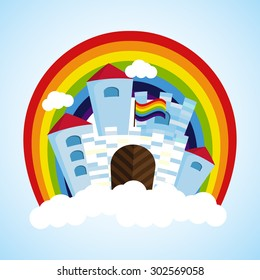 Vector rainbow castle in the sky with clouds.