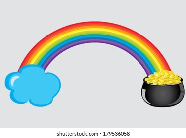vector rainbow with cloud and pot with gold
