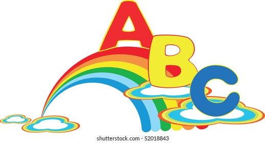 Vector rainbow with color letter ABC