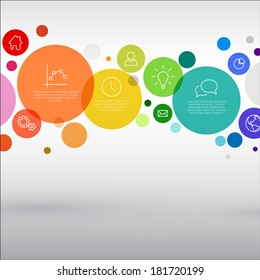 Vector rainbow diagram with various descriptive circles - infographic template