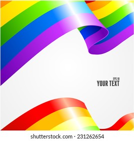 Vector rainbow flag waving on white background. Card