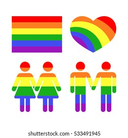 Vector rainbow gay LGBT rights icons and symbols. Homosexual love and flag illustration.