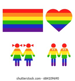 Vector rainbow gay LGBT rights icons. Homosexual love and flag illustration.
