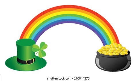 vector rainbow with green hat, shamrock, pot with gold for St. Patrick's day