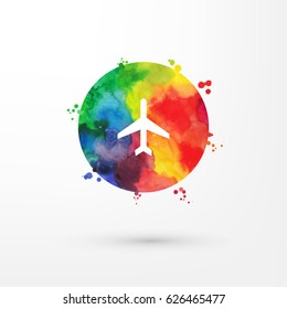 Vector rainbow grungy watercolor air plane icon inside circle with paint stains and blots.