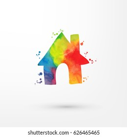 Vector rainbow grungy watercolor home icon inside circle with paint stains and blots, painting of house