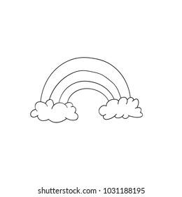 Vector rainbow illustration isolated on white background. Cute animal