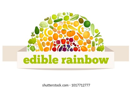 Vector rainbow made from fruits and vegetables. Multicolored food.