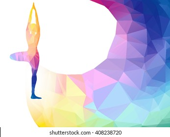 Vector rainbow polygonal label with woman silhouette of yoga pose. Yoga sport invitation poster or flyer background with empty space, banner template. Colorful polygonal triangle background. Vector.