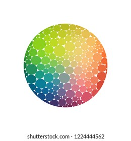 Vector rainbow round logo made of circles . Vitamin concept. Abstract circled shape. Vector design element