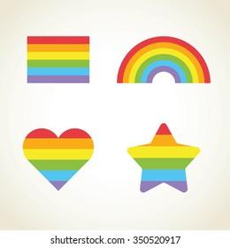 Vector rainbow set. Gay pride icon. Rainbow flag star heart. Gay icons template. Vector rainbow gay pride design elements