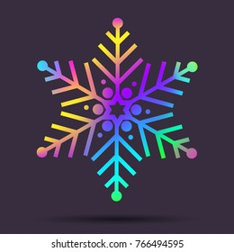 Vector rainbow snowflakes. Holographic foil elements for winter projects decoration in vivid colors. Christmas snowflake shape. Made using vector mesh snd clipping mask
