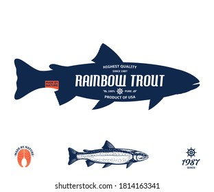 Vector rainbow trout label isolated on a white background. Trout raw steak and fish illustration