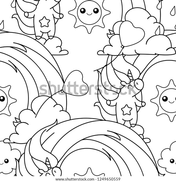 Vector Rainbow Unicorn Pattern Coloring Book Stock Vector