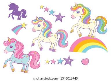 Vector Rainbow Unicorns