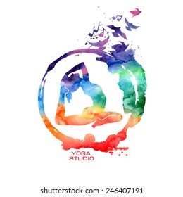 Vector rainbow watercolor label with creative Zen symbol and yoga pose