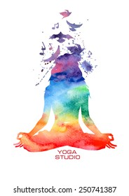 Vector rainbow watercolor label with woman silhouette of lotus yoga pose
