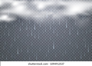 Vector raindrops with clouds isolated on transparent background. Tropical Rainfall. Falling water drops. White Dense clouds. Bad weather conditions illustration. Eps 10.