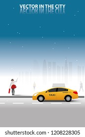vector raise her hand up for calling taxi car on city background