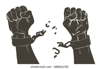 Vector Raising hands. Breaking steel shackles, chain. Get slave free. Concept of rescue, liberation, victory, fight, rebellion, protest. Sketch illustration